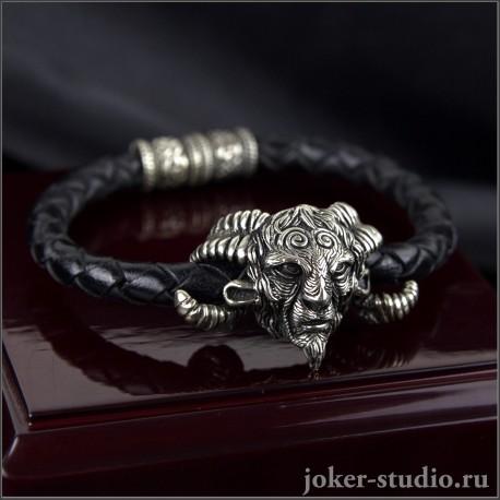Кожаный браслет с головой Фавна оригинальное украшение в стиле фэнтези