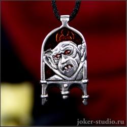"""Готический кулон вампир """"Граф Дракула"""" с эмалью"""