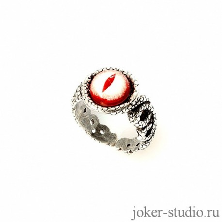 Женское кольцо из змей и красным глазом ядовитой гадюки подврок со смыслом