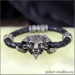 """Кожаный браслет """"Фавн"""" с шармами Сварога"""