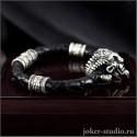 """Кожаный браслет """"Фавн"""" на плетеном шнуре с кельтскими шармами"""