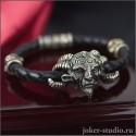 """Готический кожаный браслет """"Фавн"""" с шармами из черепов"""