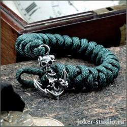 Молодежный браслет из паракорда с якорем цвета морской волны для девушки и парня
