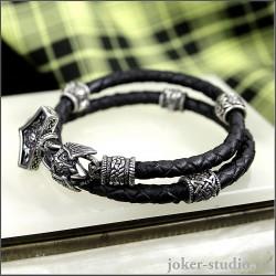 Браслет Молот Тора с двойным кожаным шнуром со сварогом и черепами мужское украшение