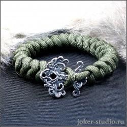 Браслет из паракорда с кельтской серебряной застежкой Иггдрасиль