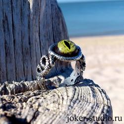 """Кольцо глаз крокодила аллигатора оригинальое украшение со змеями """"Минерва"""""""
