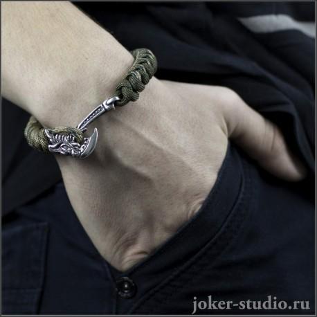 Мужской браслет из камуфляжного паракорда | Купить готовые браслеты с топором Грифон