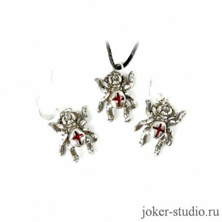Красивый серебряный кулон и серьги с паучками и красной эмалью ювелирная бижутерия