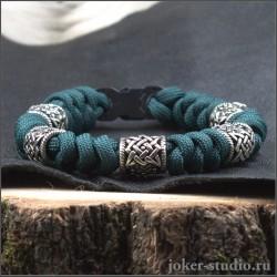 Браслет из паракорда со знаком Сварога мужской браслет цвета морской волны