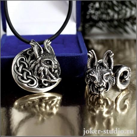 Кулон и кольцо с рысью крвивый ювелирный комплект украшений с тотемной кошкой