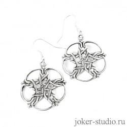 Серьги Пентаграмма в круге с кельтским узором красивые длинные сережки для девушки с символикой