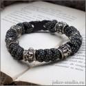 Мужской плетеный браслет из паракорда змейка с черепами оригинальный подарок с символикой