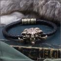 Плетеный кожаный браслет шнур с головой Фавна и кельтским замком из бронзы