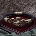 """Мужской кожаный браслет """"Мьёльнир"""" из бронзы украшение ручной работы"""