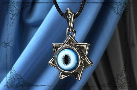 ЗВЕЗДА МАГОВ Кулон из серебряного сплава с глазом рыси